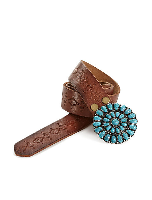 TURQUOISE BUCKLE BELT, MEDIUM BROWN