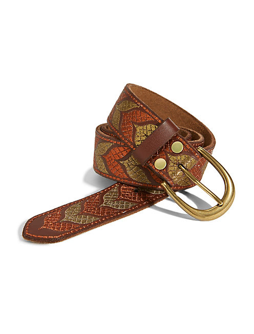 PETER DUNHAM MET EMB BELT, MEDIUM BROWN