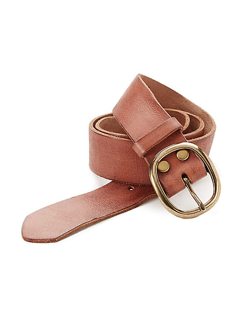 BASIC LEATHER BELT, MEDIUM BROWN