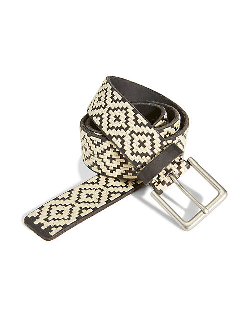 DIAMOND EMBROIDERED BELT, BLACK