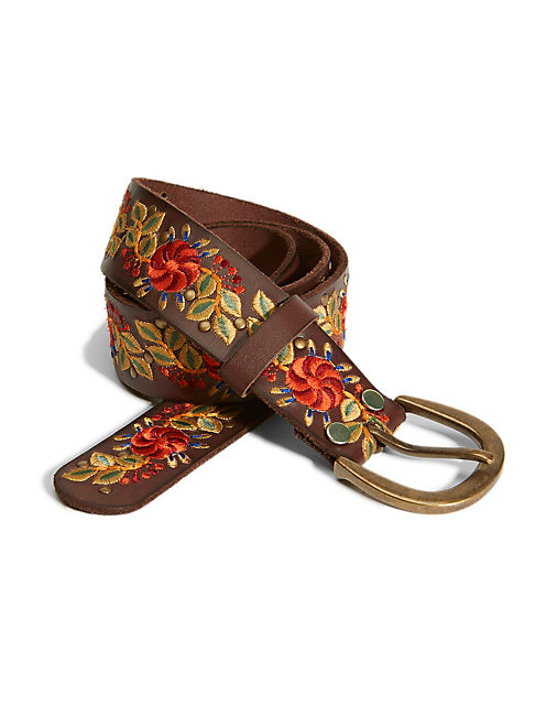 PINWHEEL EMBROIDERY BELT, MEDIUM BROWN