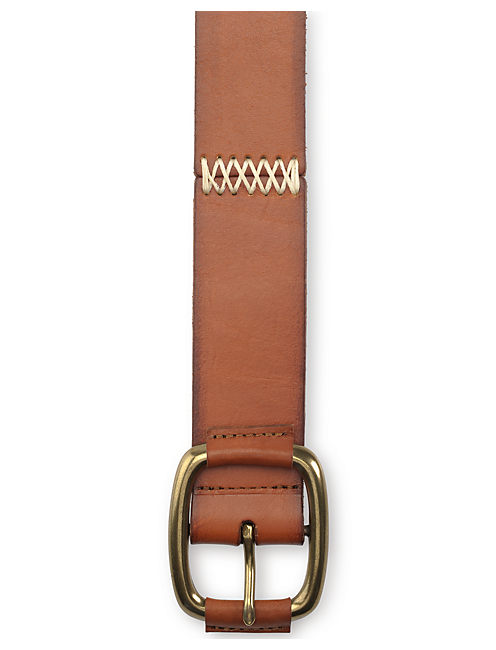 STITCHED PANEL BELT, LIGHT BROWN