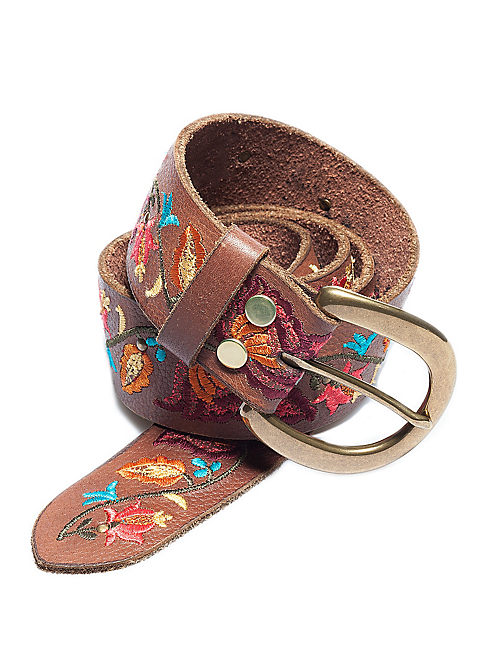 FLORAL EMBROIDERY BELT, LIGHT BROWN