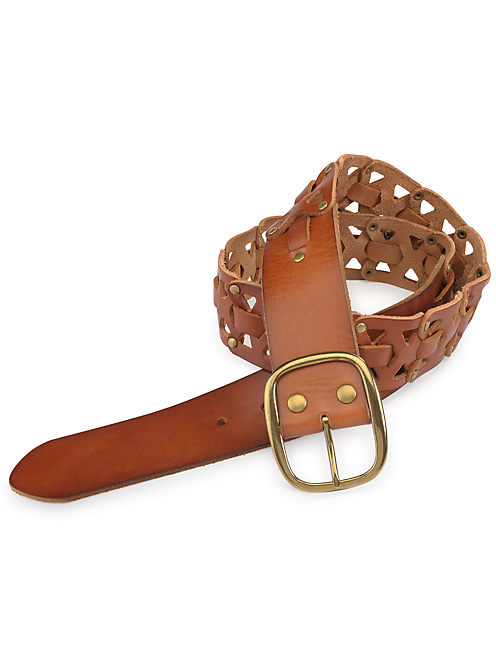 WOVEN STUD BELT, RUST BROWN