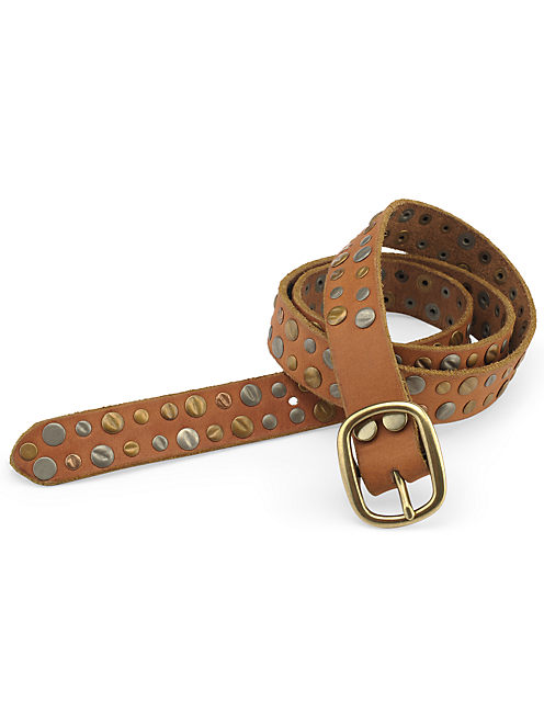 MULTI RIVET BELT, LIGHT BROWN