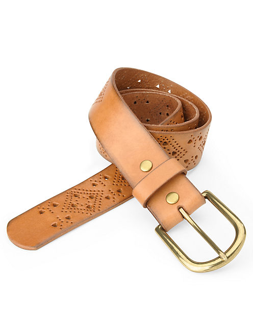 GEO PERFORATED BELT, LIGHT BROWN