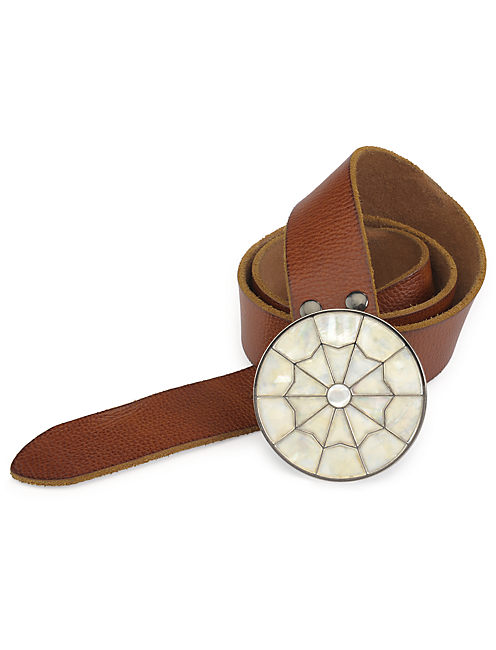 SEA SHELL BUCKLE BELT, MEDIUM BROWN