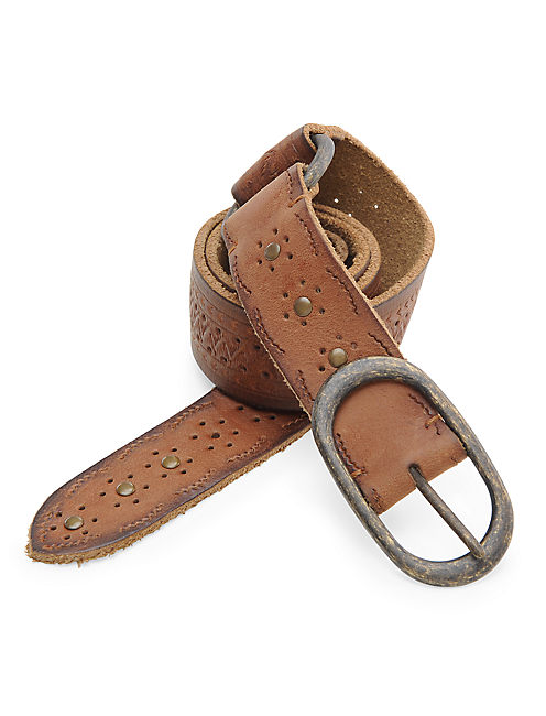 EMBOSSED RING BELT, LIGHT BROWN