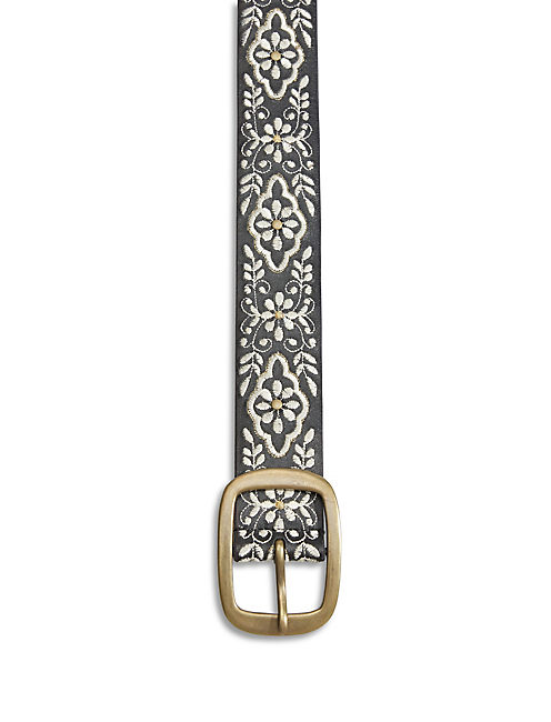 VINE EMBROIDERED BELT, BLACK