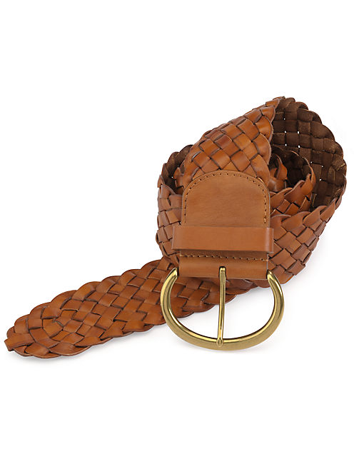 WIDE BRAID BELT, LIGHT BROWN