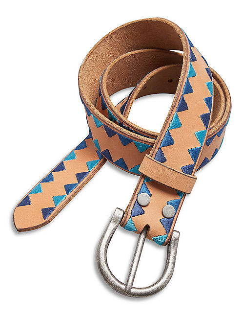 TRIANGLE EMBROIDERED BELT, LIGHT BROWN