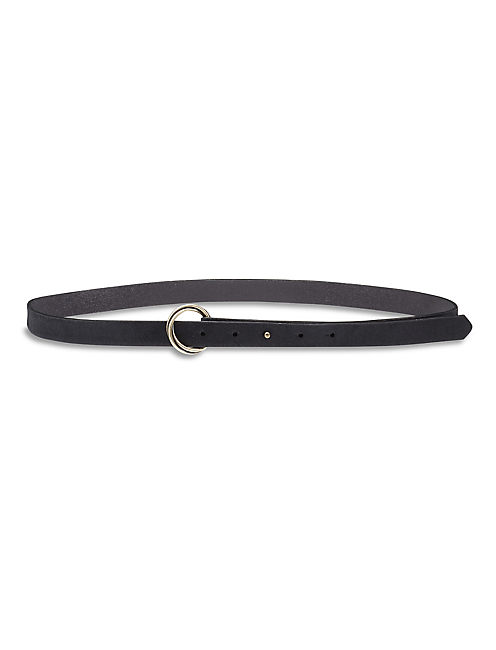 HAIRCALF SKINNY BELT, BLACK