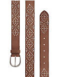 STUDDED CUTOUT BELT, #2056 SADDLE BROWN