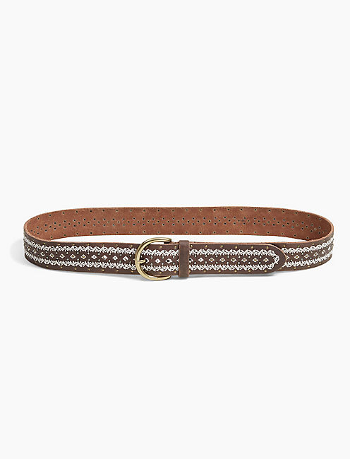 MIXED MEDIA LEATHER BELT,