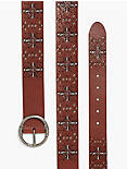 PERFORATED FLORAL BELT, CHESTNUT