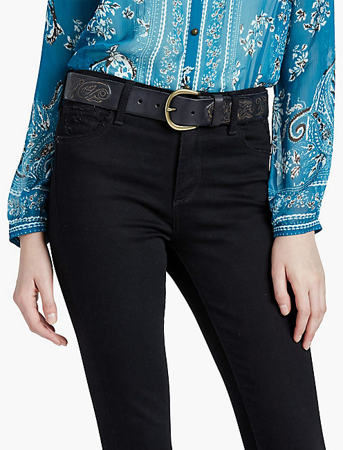 METALLIC PAISLEY BELT, BLACK