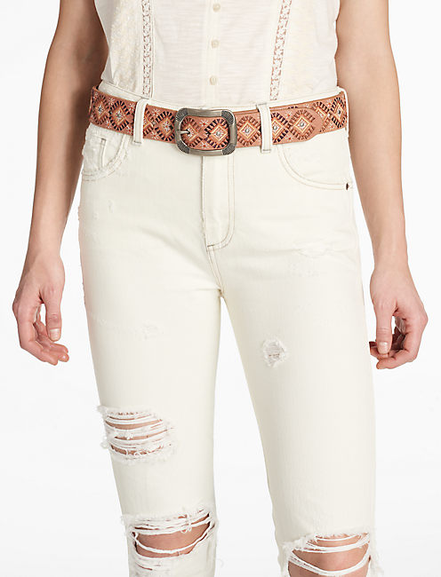 Lucky Diamond Embroidered Belt