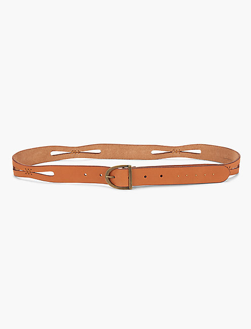 PERFORATED STITCH BELT, LIGHT BROWN