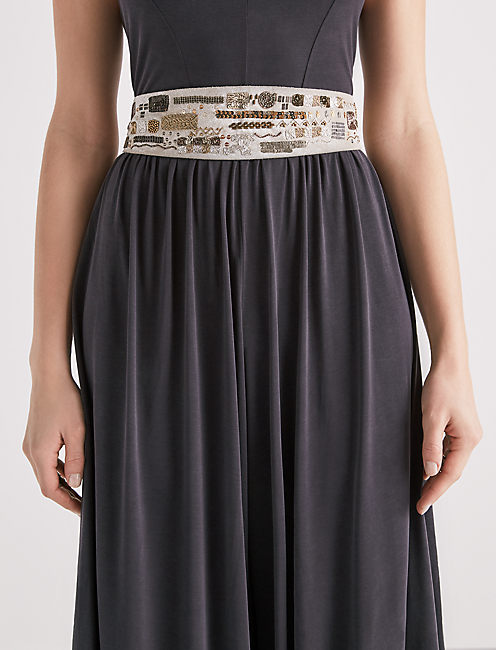 Lucky Embellished Metallic Belt