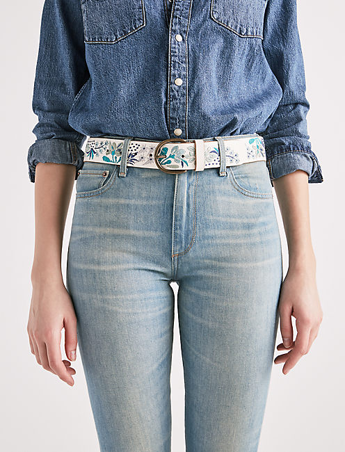 FLORAL EMBROIDERED BELT, BLUE MULTI