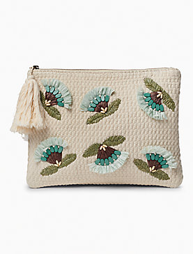 RAFFIA FLOWER ZIP TOP POUCH