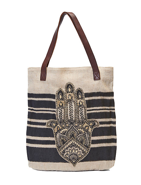 HAMSA HAND TOTE, DARK BROWN