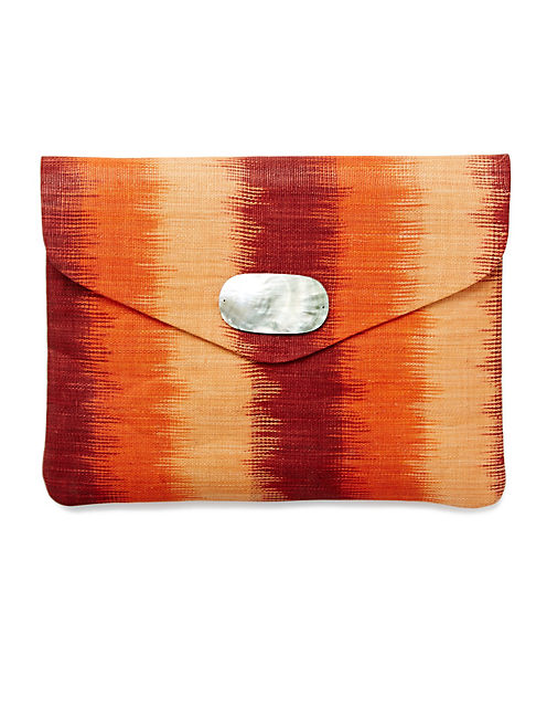 ENVELOPE STRAW CLUTCH, RED