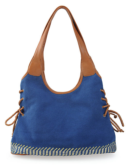 IRVING & FINE TOTE, MEDIUM DARK BLUE