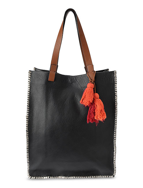 LEATHER TOTE, BLACK
