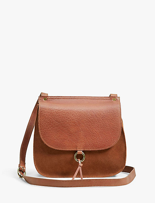 POINT SUEDE & LEATHER CROSSBODY,