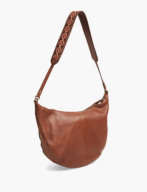 EMBROIDERED STRAP HOBO, BROWN