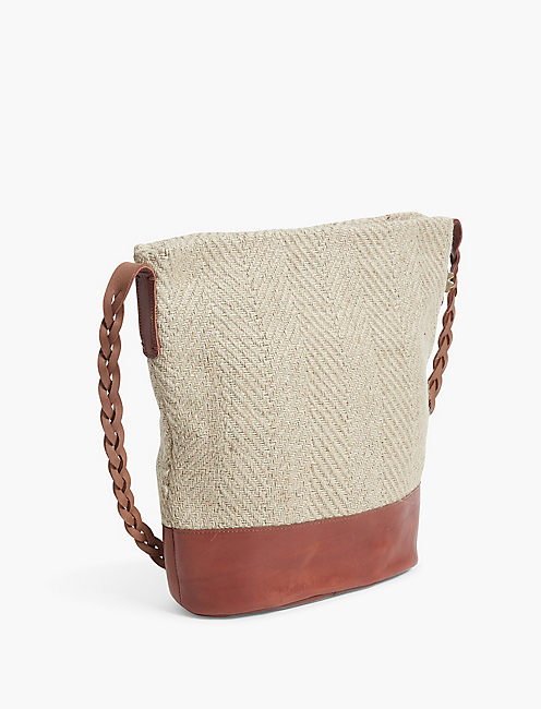 JUTE BUCKET BAG, COGNAC