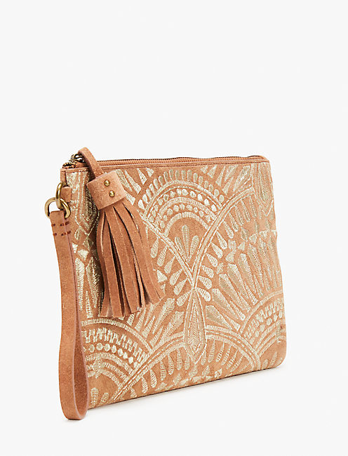 GOLDEN EMBROIDERY CLUTCH,