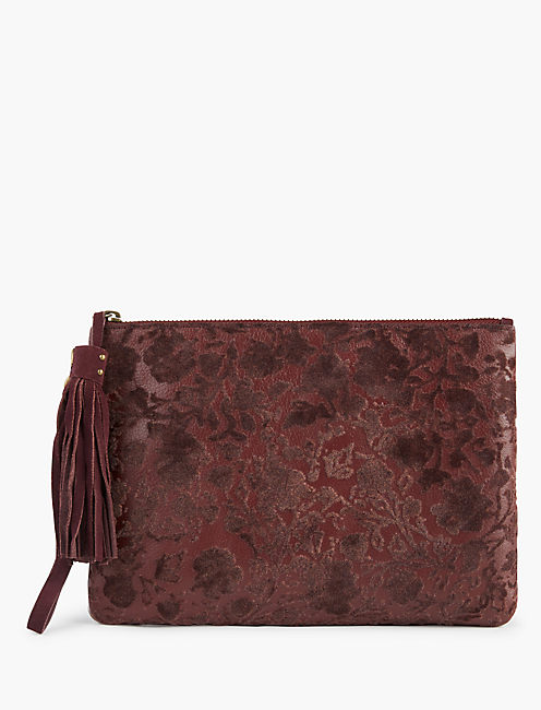 BURNOUT VELVET CLUTCH, BURGANDY