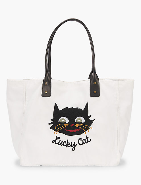 Lot, Stock And Barrel LUCKY CAT EMBROIDERY TOTE, OFF WHITE