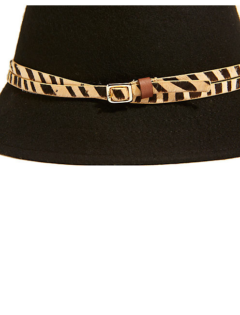 ZEBRA FELT CLOCHE, BLACK
