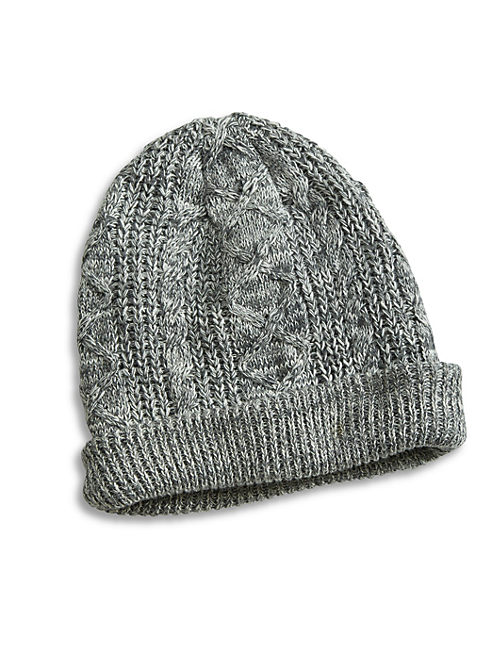 CABLE BEANIE, DARK GREY