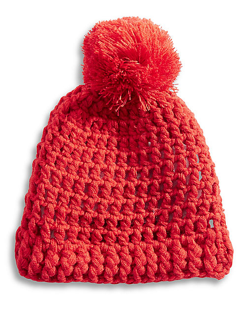 OPEN KNIT BEANIE, BRIGHT RED