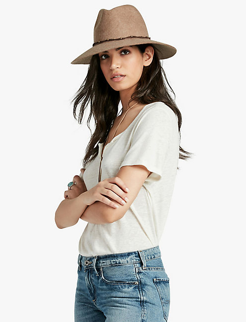 LUCKY STUD LEATHER PANAMA HAT