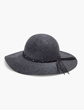 SUEDE TRIM FLOPPY HAT