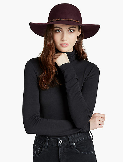SUEDE TRIM FLOPPY HAT,