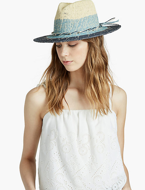 OMBRE TWO TONE PANAMA HAT, OMBRE BLUE
