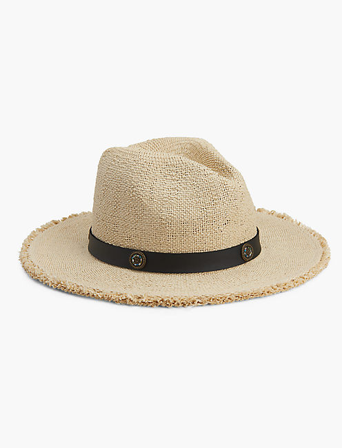 BEADED TRIM STRAW HAT, NATURAL