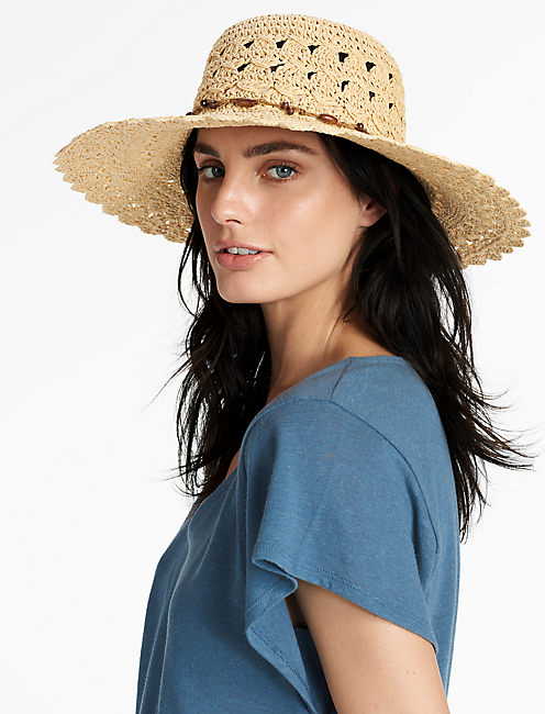 OPEN WEAVE STRAW HAT, NATURAL