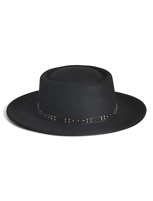 LEATHER STUD BOATER HAT,