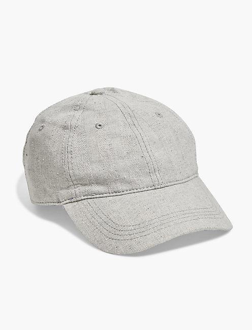 TEXTURED STRIPE BASEBALL HAT, LIGHT GREY