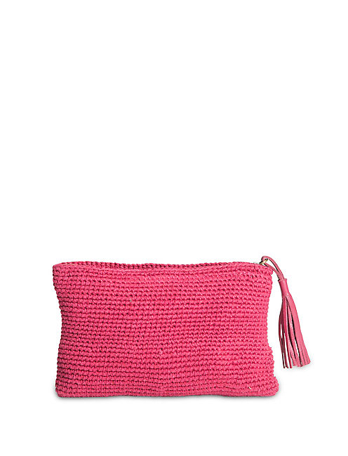 CROCHET POUCH, RED MULTI