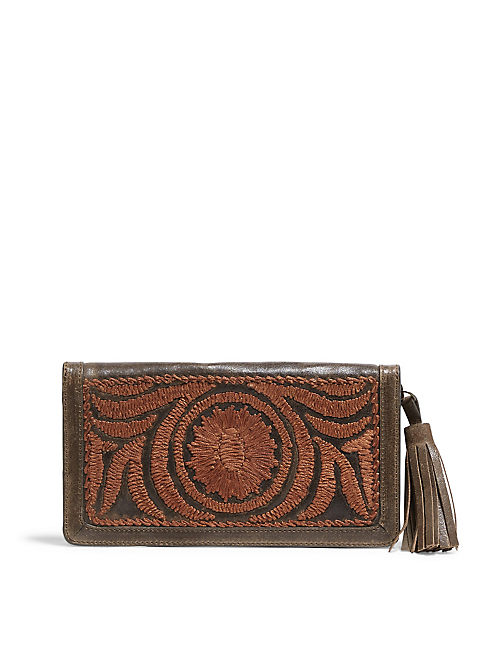 FLORAL EMBROIDERED WALLET,