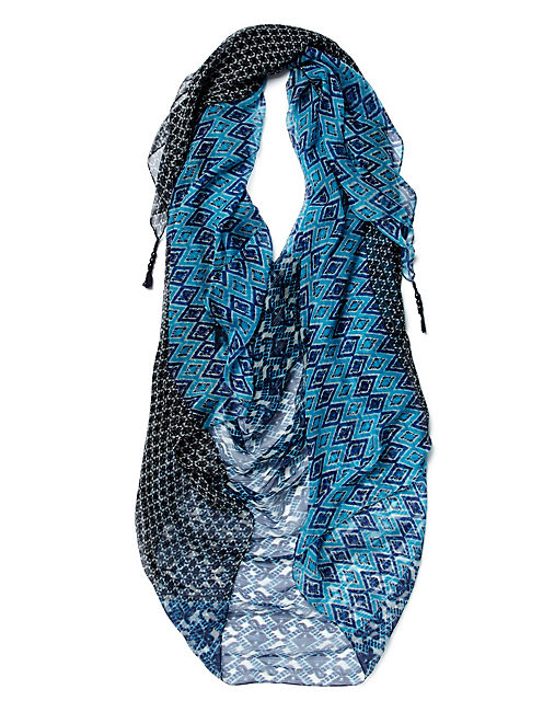 PRINTED PATCHWORK SCARF, BLUE MULTI