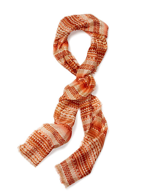 PRINTED MULTI COLOR SCARF, CORAL PINK